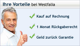 Die Vorteile wenn Sie bei Westfalia online bestellen: Rechnungskauf, Rckgaberecht, Geld zurck Garantie, Qualittsgarantie