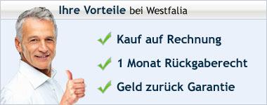 Die Vorteile wenn Sie bei Westfalia online bestellen: Rechnungskauf, Rückgaberecht, Geld zurück Garantie, Qualitätsgarantie