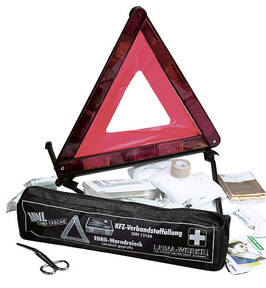 Unfall Set, Warndreieck und Verbandsmaterial mit Tasche