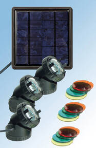 Solar LED Teichstrahler 3 tlg. - setzen Sie Lichtakzente