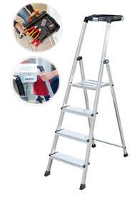 Stufen - Stehleitern Secury mit Ablage und 4 - 6 Stufen
