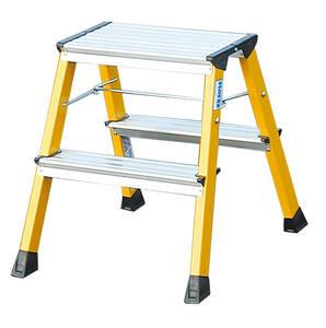 Alu Doppel-Klapptritt gelb 2x2 Stufen für Sicherheit im Haushalt KRAUSE