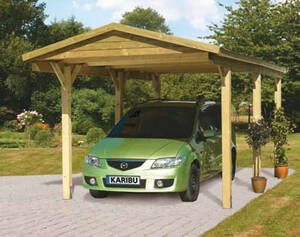 Eco Carport Satteldach Einzel Kesseldruck Karibu