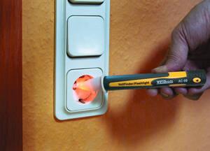 Spannungstester optisch & akustisch mit LED Taschenlampe Wetekom