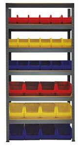 Material Vorratsregal mit Lagersichtkästen