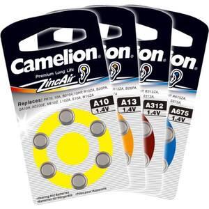 6 Batterien A13 für Hörgeräte, Zink / Luft Camelion
