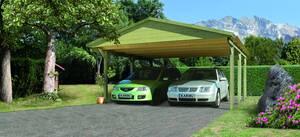 Doppelcarport Classic 1 mit Satteldach kesseldruckimprägniert Karibu