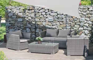 Lounge-Set AVILA 2 Sessel 1 Zwei-Sitzer 1 Tisch inkl. Kissen Garden Pleasure
