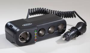 12V KFZ- 4-fach Steckdose mit LED- Batteriezustandsanzeige