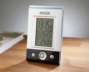 Digitaler Funkwecker mit Tag-, Datum-, Temperatur- und Mondphasenanzeige Navox