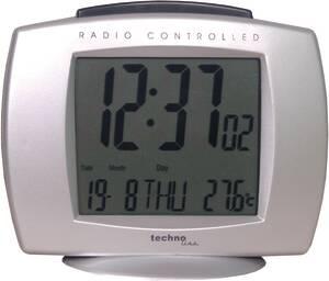 Funkwecker mit Datum, Kalender und Innentemperaturanzeige, Silberfarben Techno Line
