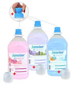 Weichspüler Gel Konzentrat in verschiedenen Duftnoten, je 5 Liter, inkl. Auslaufhahn & Dosierbecher Sanelan