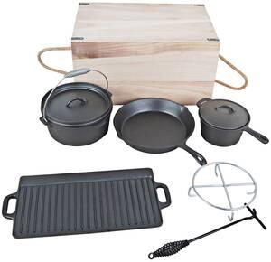 Dutch Oven Set 7-tlg. in praktischer Holztransp...