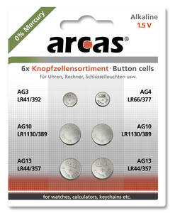Alkaline Knopfzellensortiment 0% HG 6tlg. Arcas