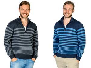 Pullover mit Stehkragen und Blockstreifen, Farbe grau oder blau Preisvergleich
