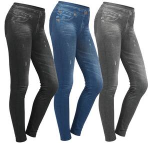 Leggings im Jeanslook, 3er Pack - blau,grau und...