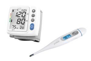2 in 1 Set: Handgelenk-Blutdruckmessgerät HGP-30, Weiß/ Grau + Digitales Fieberthermometer PFT-3,7 Promed