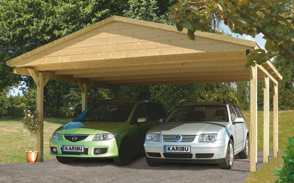 Doppel carport eco mit satteldach kesseldruckimprägniert