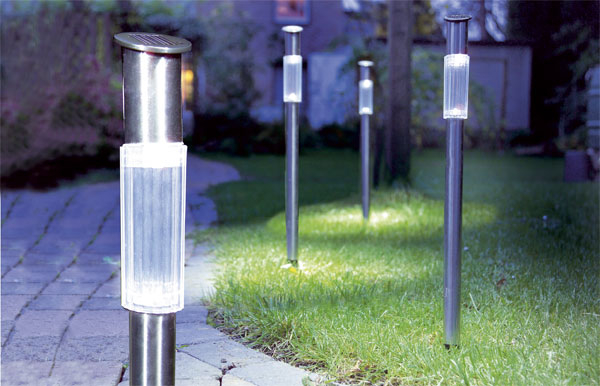 solar gartenlampen edelstahl 3er set ebay. Black Bedroom Furniture Sets. Home Design Ideas