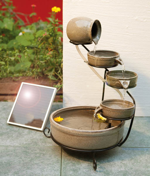 wetelux solar cascaden brunnen f r garten balkon oder terrasse ebay. Black Bedroom Furniture Sets. Home Design Ideas