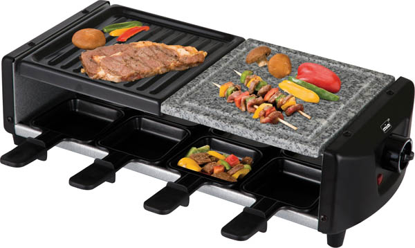 genie en sie raclette und gegrilltes mit echtem grillstein ebay. Black Bedroom Furniture Sets. Home Design Ideas