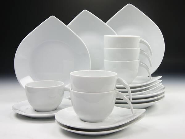 kaffeeservice drop uni wei 18 tlg auff llige tropfenform bei westfalia versand deutschland. Black Bedroom Furniture Sets. Home Design Ideas