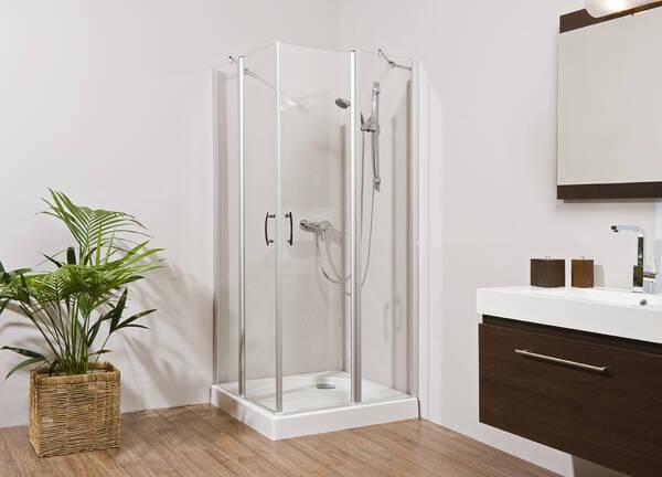 Dusche Eckeinstieg Glas : Dusche GLASS 5, Eckeinstieg, 4tlg., silber exloxiert, verschiedene
