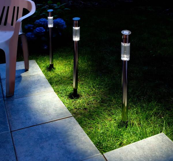 solar gartenlampen edelstahl 3er set bei westfalia. Black Bedroom Furniture Sets. Home Design Ideas