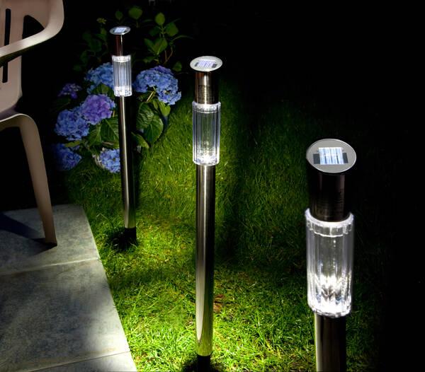 solar gartenleuchten edelstahl 3er set bei westfalia. Black Bedroom Furniture Sets. Home Design Ideas