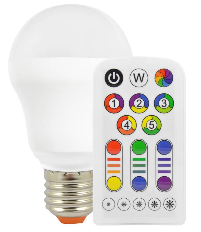 Müller Licht LED Lampe RGBplus in Glühlampenform mit Farbwechsel und Fernbedienung - 7 Watt, E27 57034