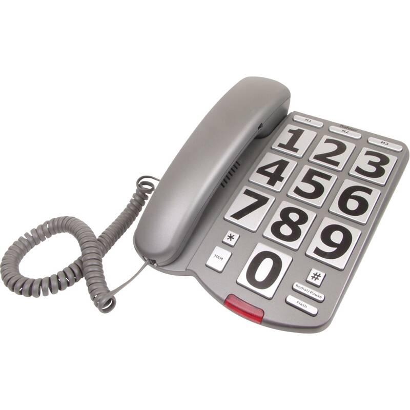 Big Button-Tafeltelefoon Grijs/Zilver