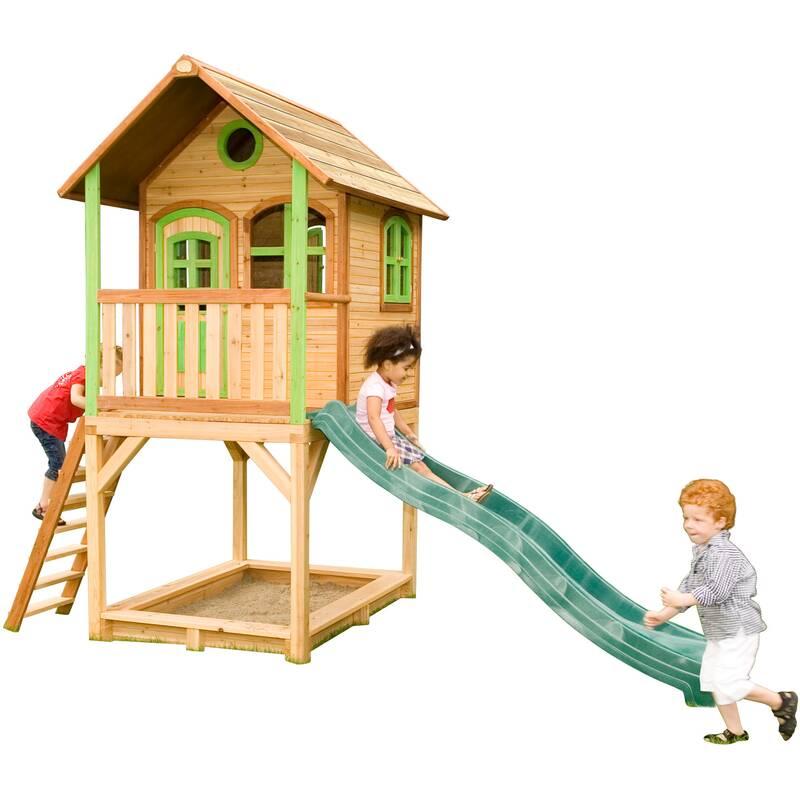 speelhuis Sarah met glijbaan en zandbak, hout/groen