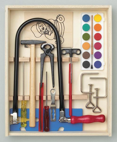 Figuurzaag Set 16 stuks, Houten doos gevuld met gereedschap + werkblad
