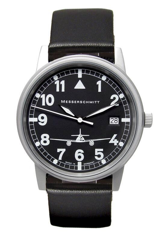 Pilot horloge ME 262-S met datum, zwart