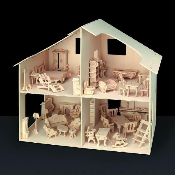 Bild von Holzbausatz Puppenhaus mit Möbel 40 x 37 cm