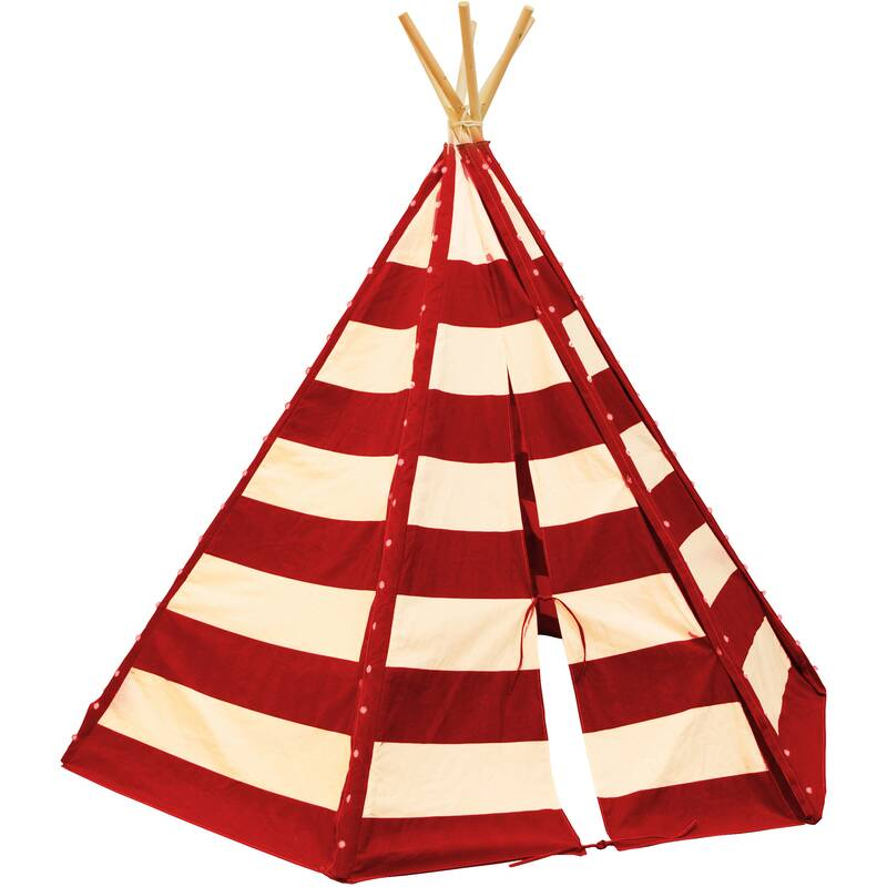 tipi tent met LED verlichting, rood/wit