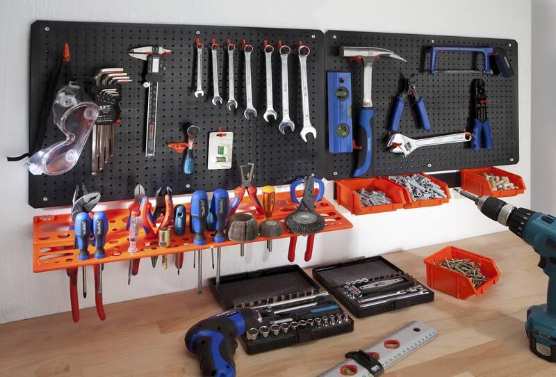 Lochplatten Werkzeugwand 2-teilig mit 18 Ger/ätehaken