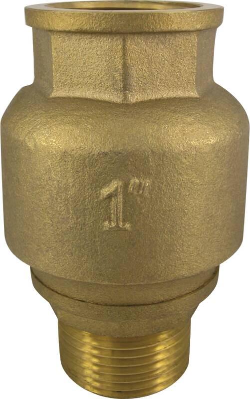 Terugslagklep voor regenwaterpomp, messing, 1 1/4 binnen- en buitendraad, rechte vorm