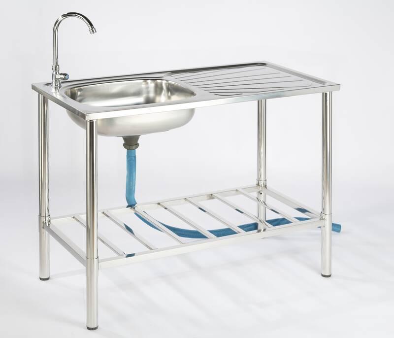 Camping/Outdoor RVS tafel met gootsteen kraan en afvoerslang 100 x 50,5 x 106 cm