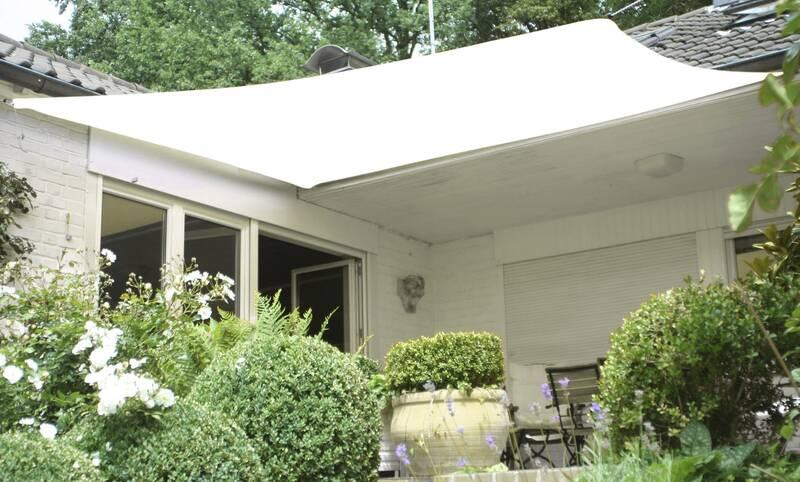 Schaduwdoek tuin vierkant 360 x 360 cm crème wit HDPE lucht- en waterdoorlatend