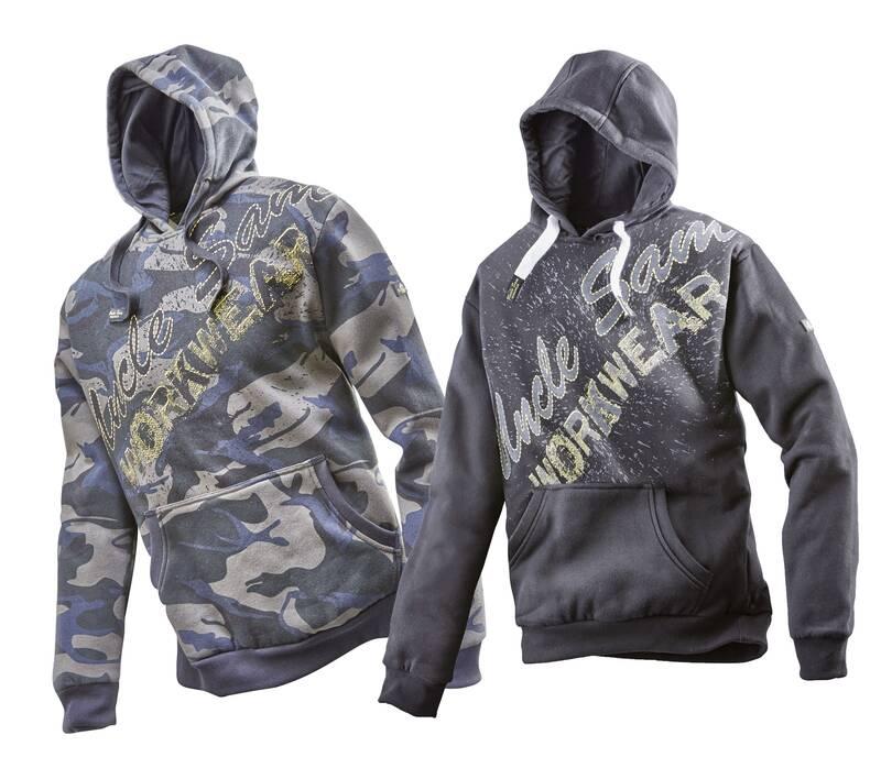 Uncle Sam WORKWEAR Sweatshirt met capuchon en opdruk zwart/grijs maat XL