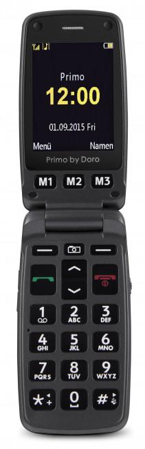 Großtastenklapphandy Primo 413 schwarz-schwarz, mit Tischladefunktion, Notruftaste, 2 MP Kamera, Bluetooth