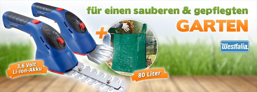 Gras- und Strauchschere mit Gartensack